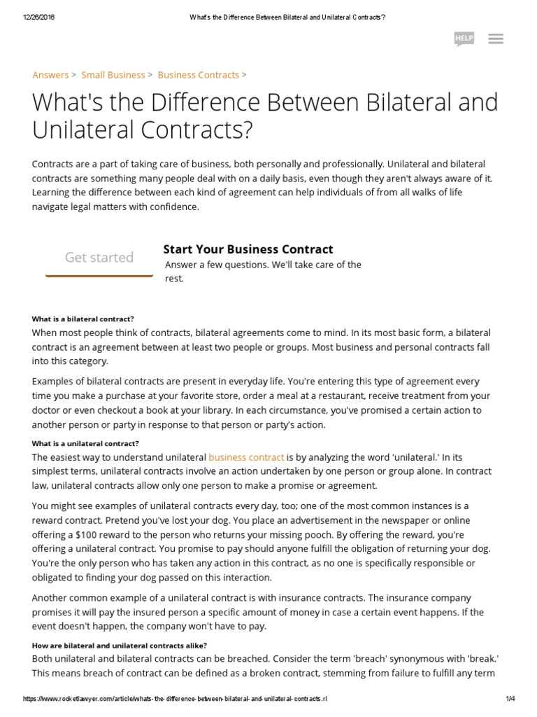 Whats The Difference Between Bilateral And Unilateral Contracts