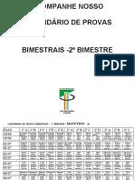 CALENDÁRIO DE PROVAS BIMESTRAIS