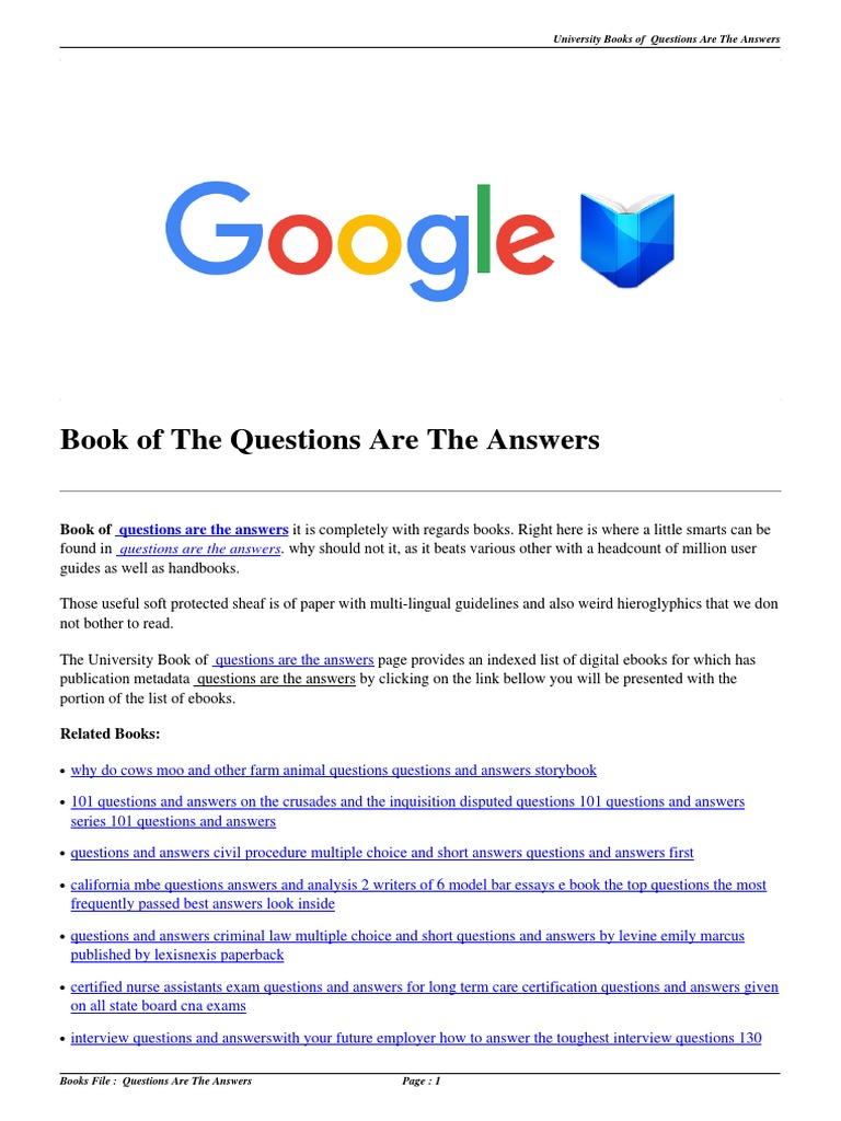 Download Questions Are the Answers pdf | Multiple Choice | Test