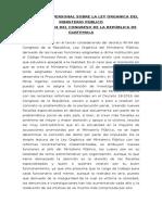 Comentario Personal Sobre La Ley Organica Del Ministerio Público y Ley Del Servicio Publico de La Defensa Penal
