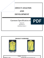 Garments Specification Sheet