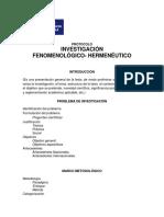 Protocolo de Investigación Fenomenológico-hermeneutico