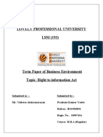 Term Paper on Right to information act(RTI)