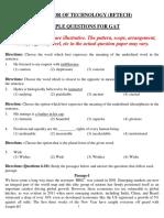 Bftech nift sample gat paper