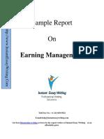 Sample Report On Earning Managment