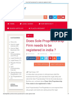 Does Sole Proprietorship Firm Needs to Be Registered in India