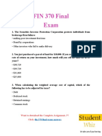 FIN 370 | FIN 370 Final Exam Questions & Answers | Studentwhiz