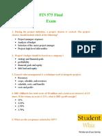 FIN 575 & FIN 575 Final Exam Questions & Answers - Studentwhiz