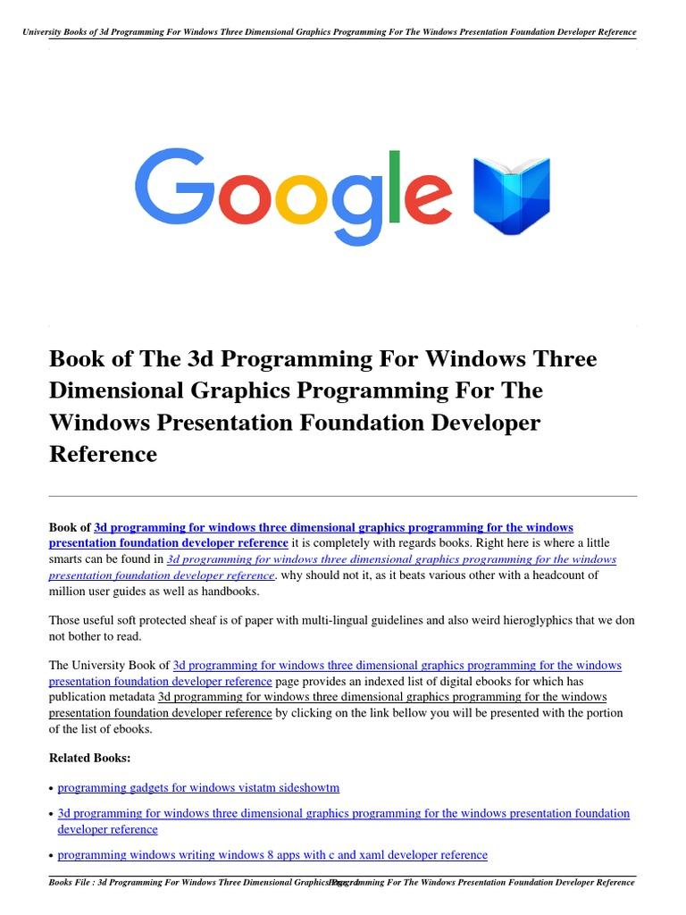 Download 3d Programming For Windows Three Dimensional Graphics The Presentation Foundation Developer Referencepdf