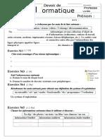 Devoir de Synthèse N°1-9 eme - Informatique - 2016