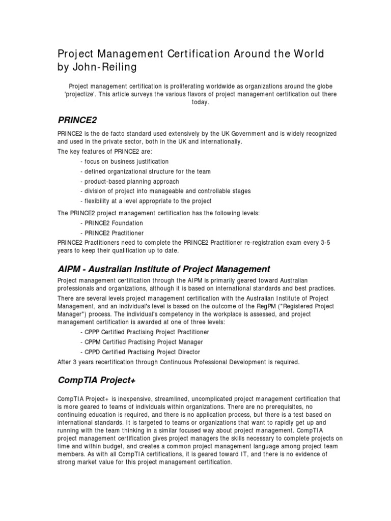 Project Management Certification Around The World Project