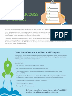 MSSP Success Checklist