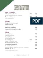 Speisekarte Verona