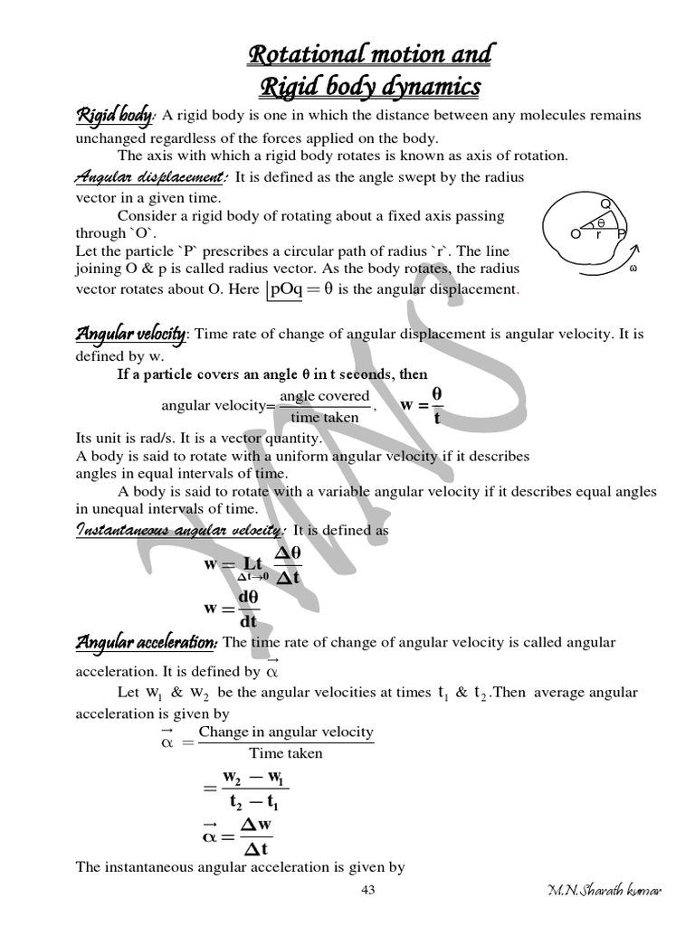 Rotational Motion and Rigid Body Dynamics | Rotation Around A Fixed