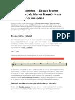 Escalas Menores – Escala Menor Natural, Escala Menor Harmónica e Escala Menor Melódica