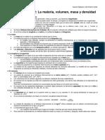 RESUMEN TEMA 2 LA MATERIA, Masa, Volumen y Densidad