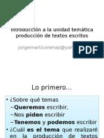Introducción a La Unidad Temática Producción de Textos