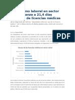 Ausentismo Laboral en Sector Salud Alcanza a 21