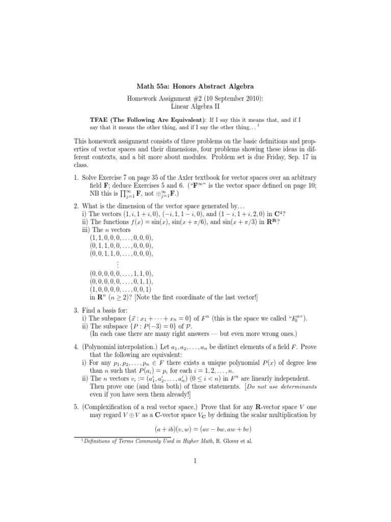 Abstract Algebra Homework Solutions Assignment 2 | Vector