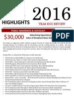 WVTA 2016 Year End Summary