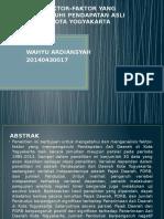 Analisis Faktor-faktor Yang Mempengaruhi Pendapatan Asli Daerah Di Kota Yogyakarta