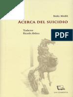 Acerca Del Suicidio. Karl Marx