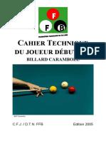 Cahier Technique de Billard - Joueur Débutant