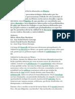 Calidad de La Educacion en Mexico