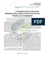 Fuzzy Logic Controlled Selective Harmonic Eliminated Three Phase Z-Source Inverter for Wireless AC Transmission