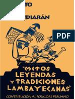 """""""Mitos Leyendas y Tradiciones de Lambayeque"""" -  Contribucion Al Folklore Peruano"""