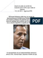 El Polisario le pide al comité de descolonización de la ONU que visite el Sahara