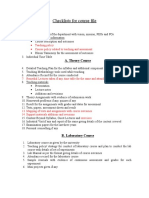 Checklists for Course File