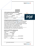 Grammar Practice Worksheets Cbse English Prepositions
