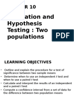 Hypothesis Testing - 2 Populations