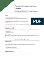 Penggunaan Alat Pemadam API Tradisional Dan Macam