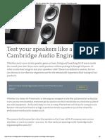 Test Your Speakers Like a Cambridge Audio Engineer _ Cambridge Audio