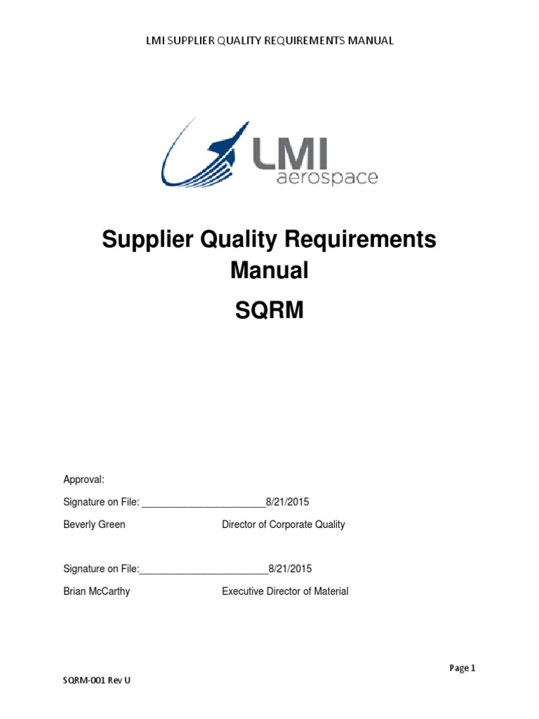 Lmi - Supplier Quality Requirements 2015 Sqrm_rev_u | Specification  (Technical Standard) | Nondestructive Testing