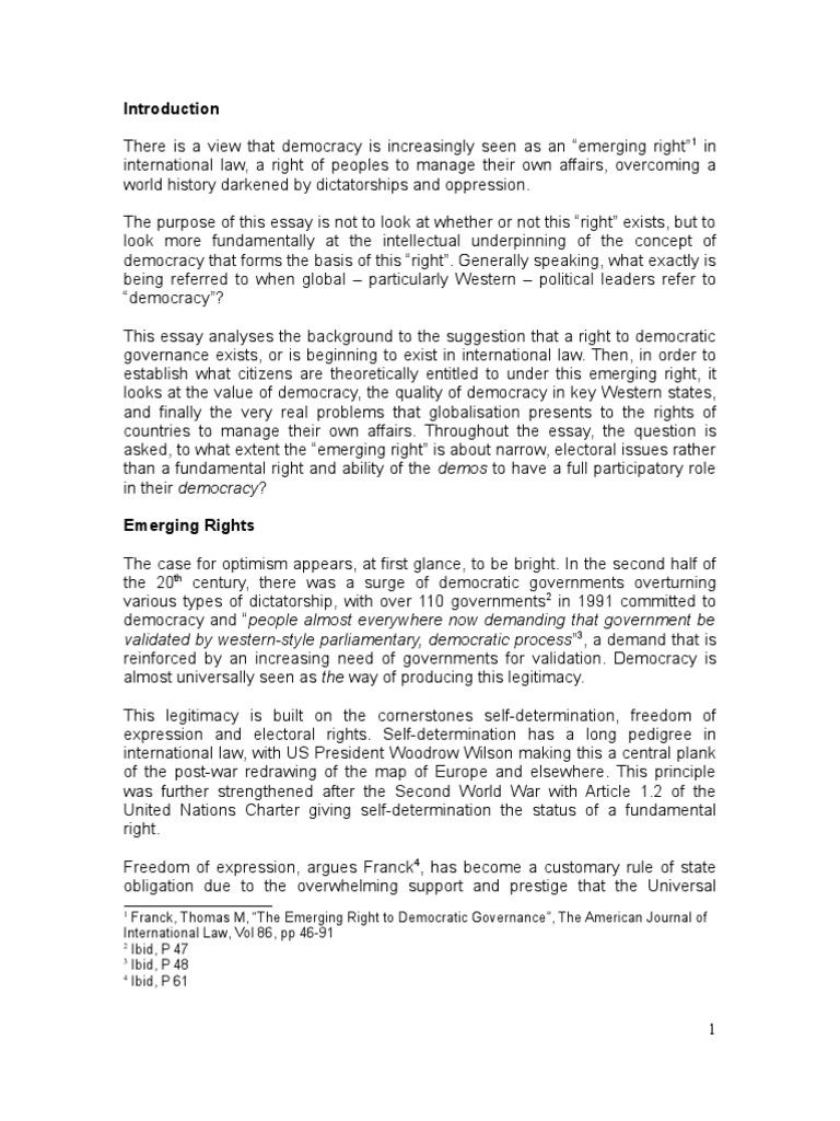 Essay On Rights  Romefontanacountryinncom Democracy Essay Liberal Democracy Non Governmental Organization