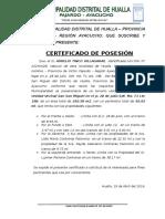Certificado de Posesion de predio urbano