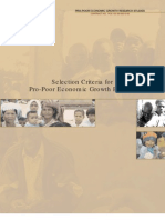 Selection Criteria for Pro-Poor Economic Growth Policies