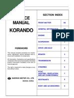 Ssang Yong Daewoo Korando Service Manual