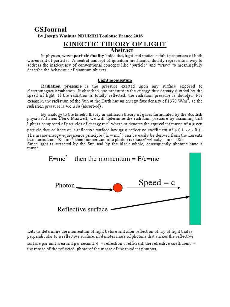 Kinetic Theory of Light 2016 by Joseph Wathuta Nduriri