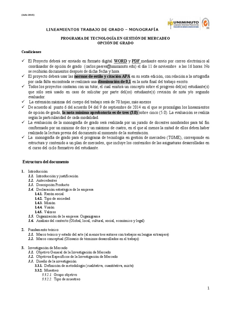 Lineamientos Monografías De Grado2016 Ii Investigación