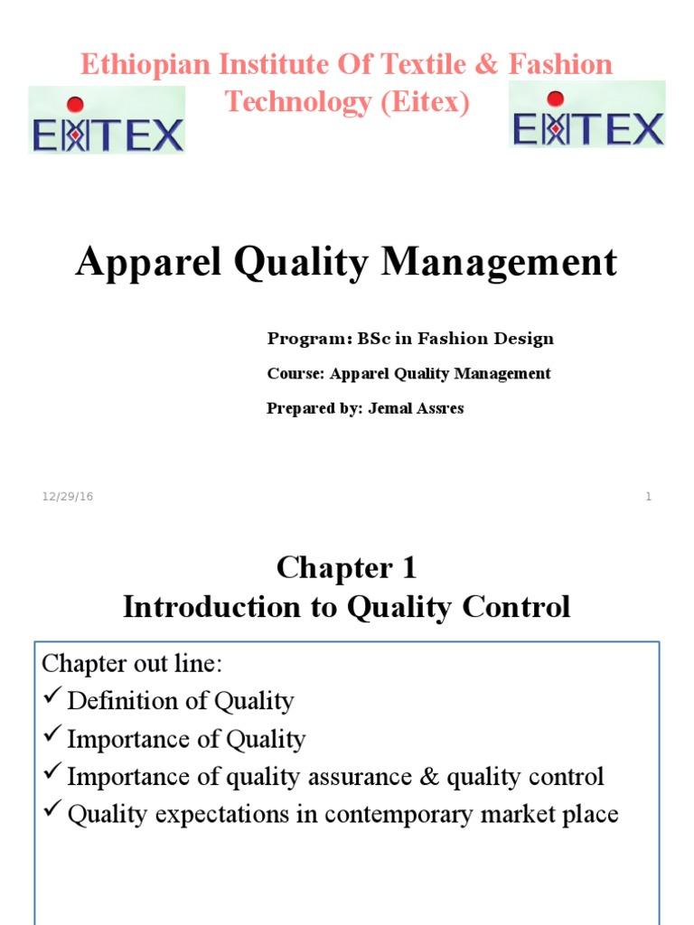 apparel quality management | quality assurance | competitive advantage
