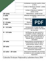Calendarul Evaluarii Nationale 2016