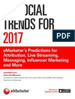 EMarketer US Social Trends for 2017-EMarketers Predictions for Attribution Live Streaming Messaging ...