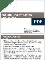 Pre-bid Site Investigation Checklist