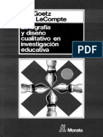 Goetz y LeCompte (1984) Caracteristicas y Origenes de La Etnografia Escolar