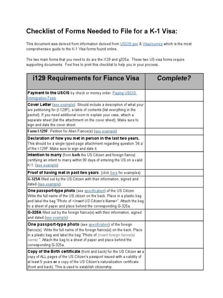 K 1VisaChecklist | Permanent Residence (United States)