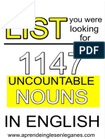 1147 Uncountable Nouns - List...